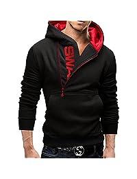 wlgreatsp Men Casual Jacket Hoodie Zipper Tracksuit Top Fleece Cardigan Sweatshi