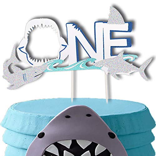 (Shark Cake Toppers, Shark ONE Birthday Cake Topper, Ocean Animals Theme Party Cake Decor, Shark Baby Shower 1st Birthday Party Supplies Decorations)