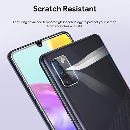 [2+3 Pièces] LϟK Verre Trempé Compatible avec Samsung Galaxy A41 avec 2 Pièces Protection Écran + 3 Pièces Caméra Arrière Protecteur - sans Bulles Ultra Dureté Empreintes Digitales de Support