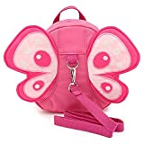 Hi-Q Cute Cartoon Bag Butterfly/Harness Butterfly Mini Backpacks with Safety nylon tape for 1-3 Years Old Baby Toddler Walking Safety Backpack Little Kid Boys Girls Anti-lost Travel Bag (Pink 1)