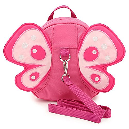 Baby Anti-lost Backpack, Anti-lost Preschool Backpack, Mini Travel Safety Bag, Baby Walking Safety Harness Reins Toddler Child Backpack Backpack Assistant with Safety Leash (Pink Butterfly Safety Bag)