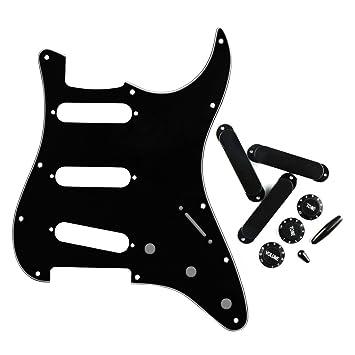 FLEOR 11 agujeros SSS Golpeador con cerrado estilo Pickup Covers 2t1 V tono consejos y botones de Control de volumen para Fender Strat Guitarra, 3 ...