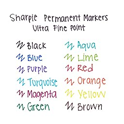 Sharpie Permanent Markers, Ultra-Fine Point, Assorted, 12 Pack