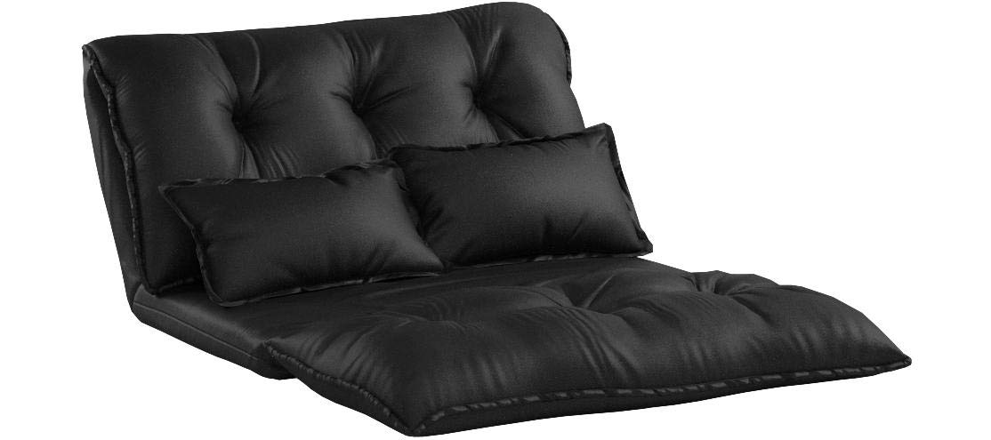 Merax Pu Leather Foldable Modern Leisure Bed Video Gaming Sofa with Two Pillows, Black by Merax