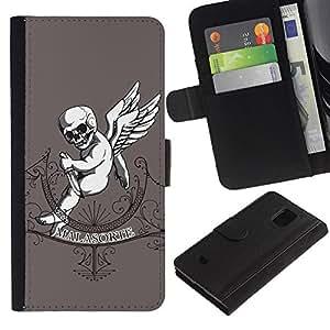 Samsung Galaxy S5 Mini (Not S5), SM-G800 - Dibujo PU billetera de cuero Funda Case Caso de la piel de la bolsa protectora Para (Malasorte - Evil Goth Baby)
