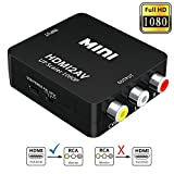 HDMI to RCA,Elizza 1080P HDMI to 3RCA CVBS AV Composite Video Audio Converter Adapter Supporting PAL/NTSC with USB Charge Cable for PC Laptop Xbox PSTV STB VHS VCR Camera DVD,Black