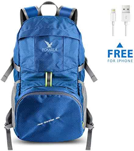 b680a314f065 Pokarla 35L Foldable Durable Backpack Travel Hiking Daypack Ultra  Lightweight Packable Carry On Bag Unisex Outdoor