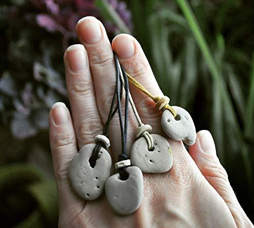 (Natural Hag Stone & Crinoid Fossil Necklace - Wishing Stone - Adder Stone - Witch Stone - Holey Stone - Odin Stone)