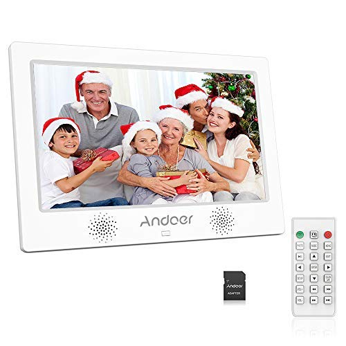 Andoer 10.1 Inch Digital Photo Picture Frame 1024x600 Resolution TFT-LED Screen Support Calendar/Clock/Alarm Clock/Photo/Music/Video with Remote Control 8GB Memory Card (White)