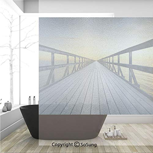 3D Decorative Privacy Window Films,Long Wood Pier Deck by the Sea Disappearing into Sunset Nature Scenery in Twilight Print,No-Glue Self Static Cling Glass film for Home Bedroom Bathroom Kitchen Offic