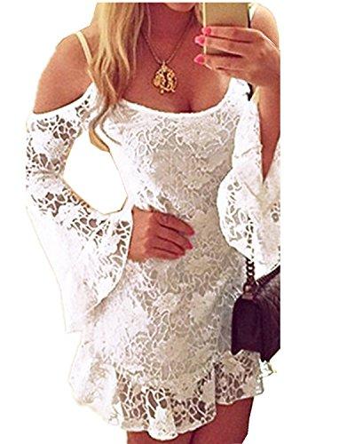 zanzea Lace Off Shoulder Mini Dress (White) - 1
