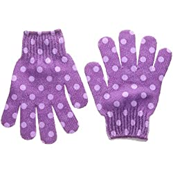 Bath Accessories Bathing Gloves, Lavender Polka Dots
