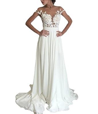 Fishlove Vintage inspired vestido de novia Cap Sleeves Chiffon Lace Bridal Wedding Dresses 2017 W1 at Amazon Womens Clothing store: