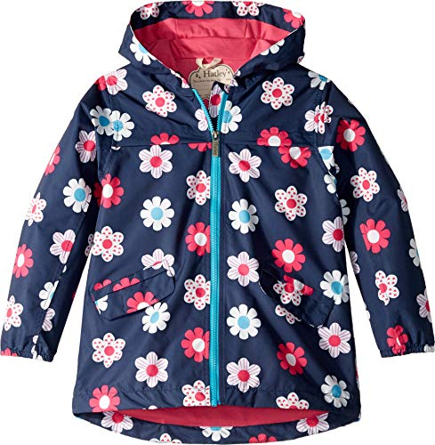 (Hatley Kids Baby Girl's Spring Flowers Microfiber Rain Jacket (Toddler/Little Kids/Big Kids) Blue 3T)