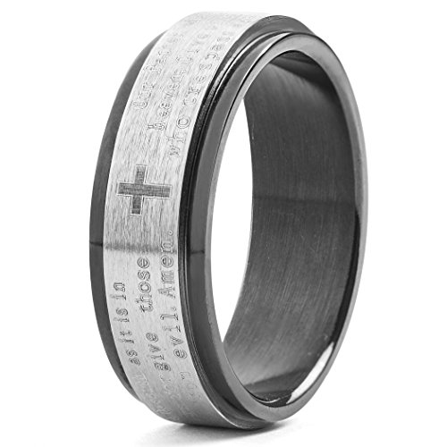 West Coast Jewelry | Crucible Men's Black Plated Stainless Steel Lord's Prayer Spinner Ring - Size 9