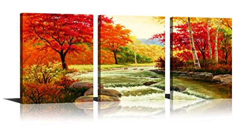YPY Paintings Scene of Forest Nature Beauty Wall Art Ready to Hang Print On Framed for Living Room Bedroom Office Decoration 3pcs/set (Red, 12x16in) (Living Inspired Rooms Tropical)