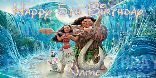 Moana Happy Birthday Party Banner Personalized/Custom Vinyl Party Decoration NOT PAPER (OUTDOORS/INDOORS -