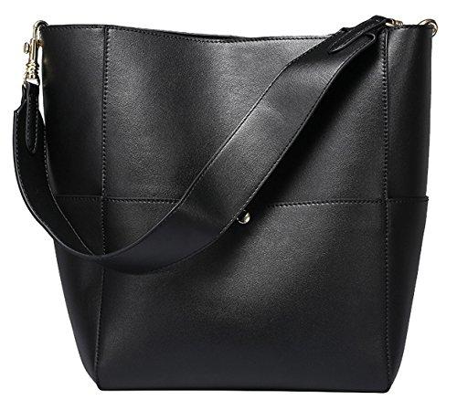 SAIERLONG Ladies Designer Womens Black Cowhide Genuine Leather Handbags Shoulder Bags