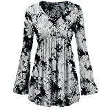 Clearance!Youngh 2018 New Women Blouses Women Plus Size Tie-Dye Print V-Neck Loose Long Sleeve Casual Fashion Tunic Blouse Shirt Tops