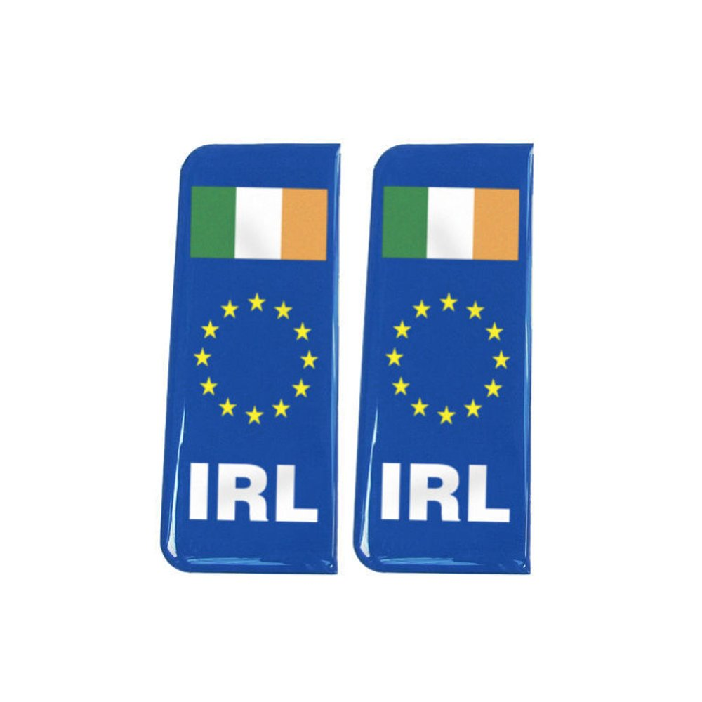 Number Plate Blue Gel Domed Decal EU With Flag - Ireland 'IRL'