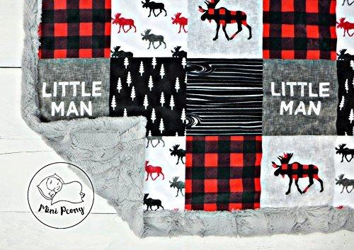 minky baby blanket  lumberjack moose in red  black and gray  28 u0026quot x38 u0026quot