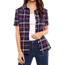 Meaneor Women Summer Short Sleeve Boyfriend Plaid Button Down Shirts