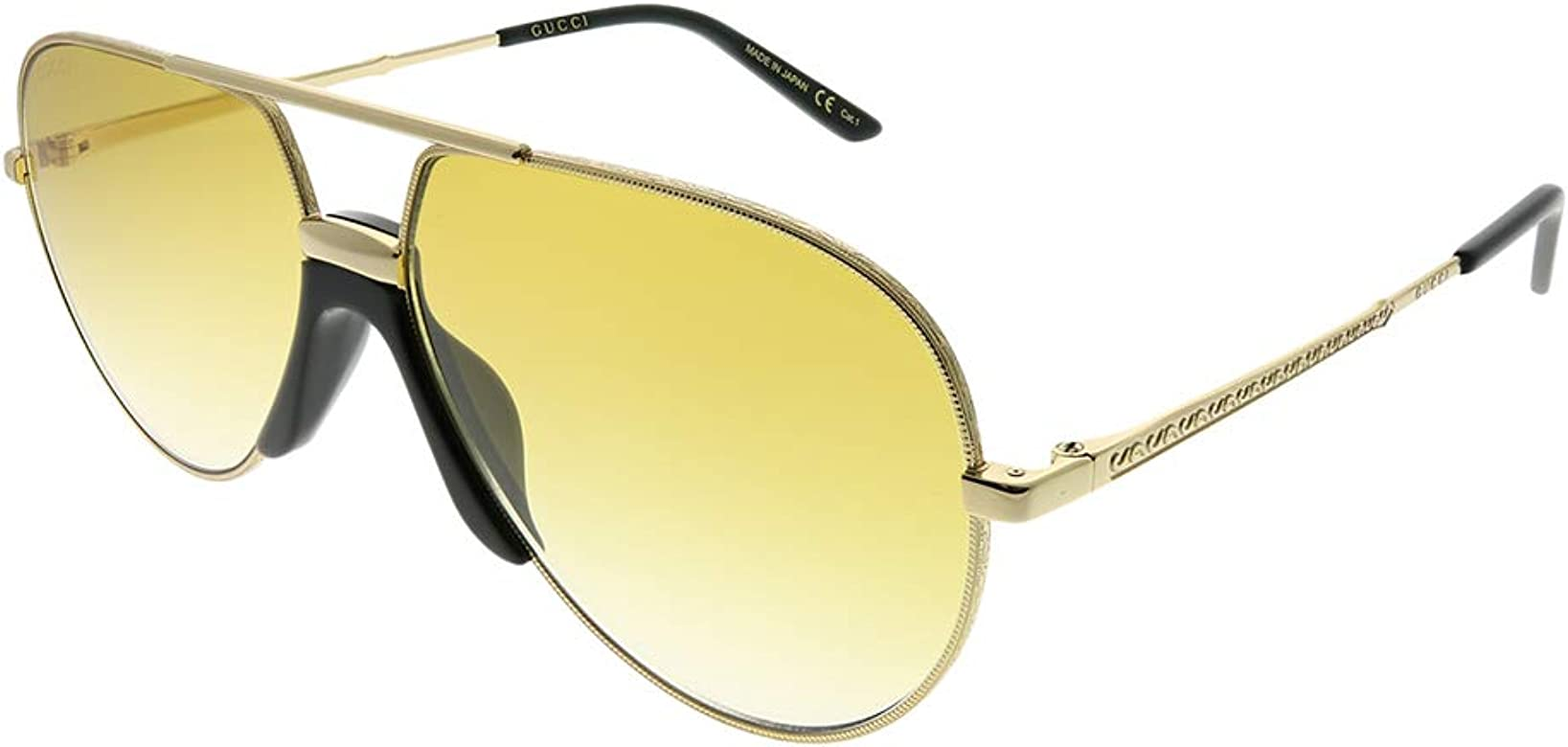 a4080f77bf2 Amazon.com  Gucci GG 0432S 003 Gold Metal Aviator Sunglasses Yellow ...