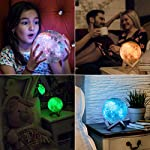 3D Galaxy Moon Lamp by Mind-Glowing – Cool Kids Galaxy Moon Night Light with 16 LED Colors, Touch & Remote Control