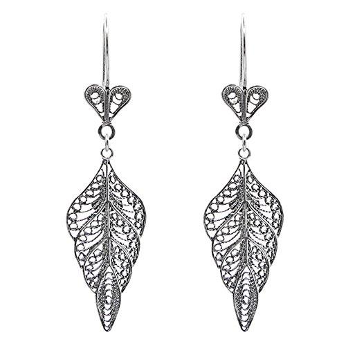 - 925 Sterling Silver Artisan Filigree Dangle Leaf Earrings