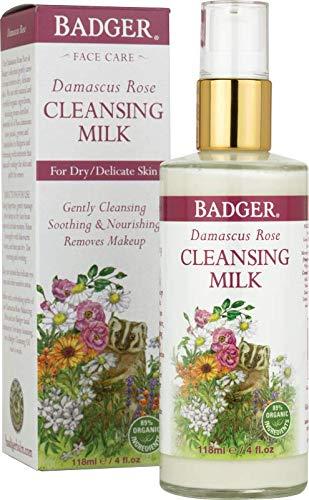 Badger Damascus Rose Cleansing Milk - 4 oz Glass Bottle