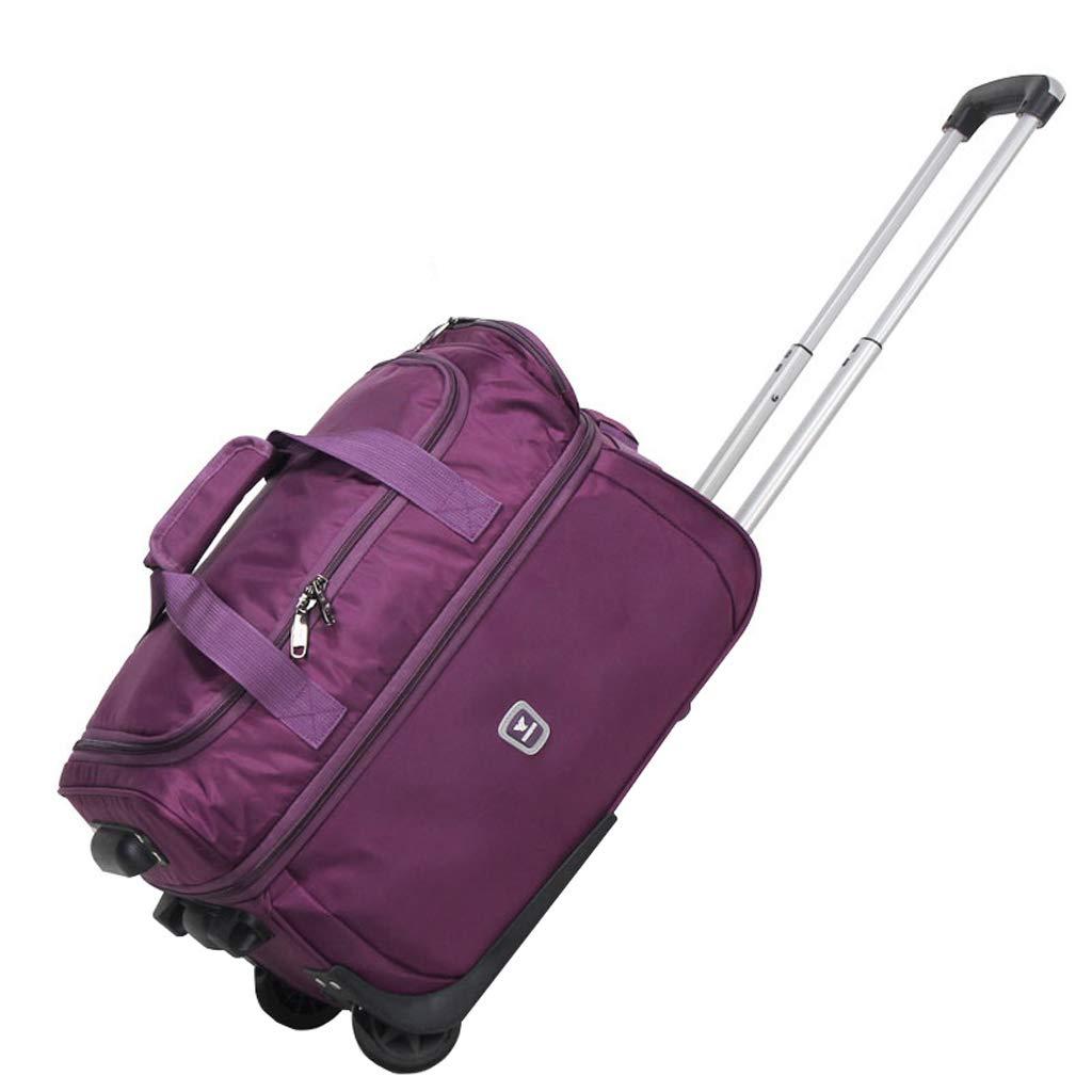 LUJIANJU 防水ファブリックトロリーバッグ、大容量スーツケース、トラベルバッグ、ハンドバッグ、ミュートホイール、ユニセックス、折りたたみ式 - 黒、滑らかなミニマリスト LUJIANJU (Color : Purple, Size : 84L) B07L767J77 Purple 84L