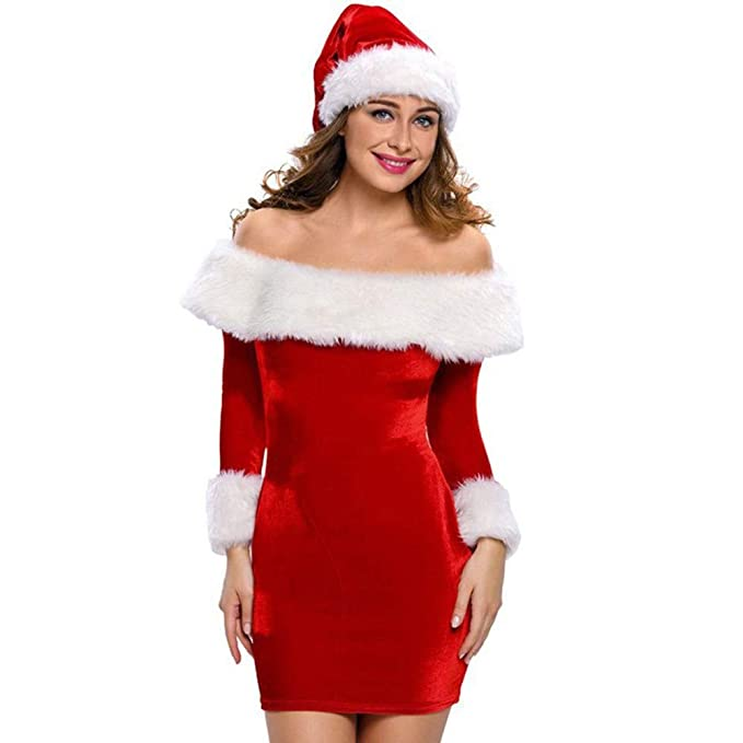 Vestiti Eleganti Per Natale.Kword Vestiti Donne Natale Senza Spalline Manica Lunga Abito Off Spalla Mini Abiti Babbo Natale Bodycon Vestiti Eleganti