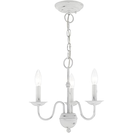 """Mini Chandeliers 3 Light Fixtures with Antique White Finish Steel Material  Candelabra 13"""" ... - Mini Chandeliers 3 Light Fixtures With Antique White Finish Steel"""