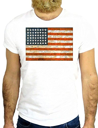 T SHIRT Z0245 AMERICA USA COOL FLAG VINTAGE NICE FUNNY NEW YORK CALIFORNIA GGG24 BIANCA - WHITE M