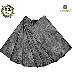 12 Filter Pad Refills for Power Filter --- Fish, Plants get clean water throughout - For Optimal Performance & Highest Quality Aquarium Water - To be used with SunGrow 3-Stage Filtration System