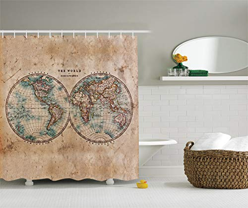 Ambesonne Earth Tones Decor Collection, Old World Map from 1800s for Geography and History Print, Polyester Fabric Bathroom Shower Curtain Set with Hooks, BurlyWood Tan Blue