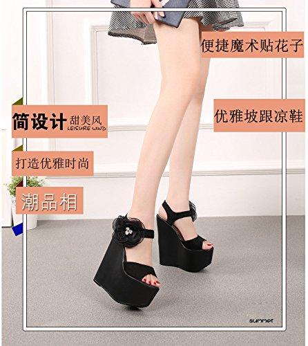 18 altos Black grueso tacos sandalias super de XiaoGao cm fondo de dZqnvzOP