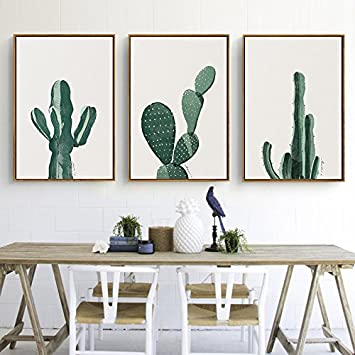 Stylish Cactus Canvas Print, Wall Art, Poster, Home Decor. 3pcs. Unframed