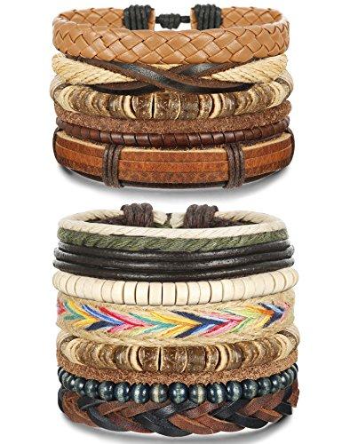 FUNRUN JEWELRY 12Pcs Leather Bracelets Set for Men Women Wood Bead Bracelets 7-8.5inches Adjustable (B: 12PCS Style2)