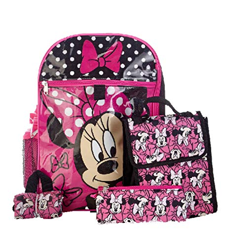 Disney Minnie Mouse Girls 5-Piece Backpack Set]()