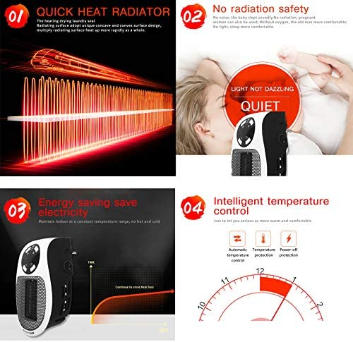 WMNRNYD Small Space PTC Electric Heater, Portable 500W Wall Mounted Heater Remote Space Heater with Adjustable Thermostat for Office Bedroom Home Motorhome
