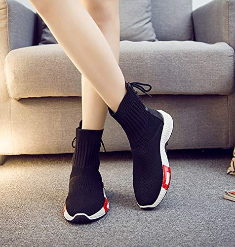 Casual Shoes Sneakers Sports Women Breathable Black LIANGXIE High Women's Running Walking Lightweight Shoes Fashion Top Breathable Sneakers wHzqFqxP