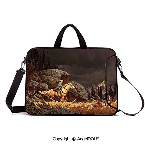 (AngelDOU Customized Neoprene Printed Laptop Bag Notebook Handbag Rock Mountain Scene Landscape with a Cowboy Riding Horse North America Style FOL Compatible with mac air mi pro/Lenovo/asus/acer G)