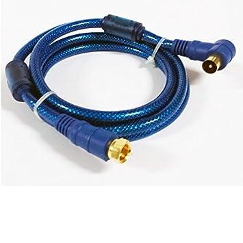 Cexpress - Cable coaxial de 1.5 metros con filtros de ruido y conectores f y rf macho