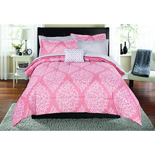 Hot Keeco Mainstays Leaf Damask Coral Queen Bed in a Bag Coordinating Bedding Set #555443584