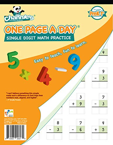Channie's One Page A Day Single Digit Math Problem Workbook for Prek-1st 50 pages simply tear off one page a day for math repetition]()