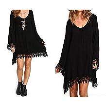 Mywine New Women Spring Summer Dress Casual Asymmetrical Full Tassel Above Knee Mini Black Solid Color Dresses Plus Size