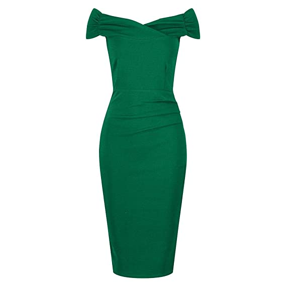 da5759b2c Pretty Kitty Fashion 1940s Vintage Emerald Green Bardot Crossover Wiggle  Dress: Amazon.co.uk: Clothing