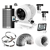 IOBIONICS Grow Tent Complete Ventilation Kit: 4in Variable Speed inline EC Fan, 4in RC48 Activated Carbon Filter, Digital Timer Hygrometer, Heavy Duty Rope Ratchet, 4' Aluminum Flex Duct & Duct Clamps