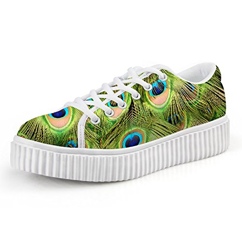 Lace Multicolor Size Fashion Bigcardesigns up Womens Platform Flat Sneaker Floral Multicolour6 O6wqY